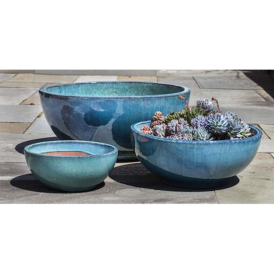 Yuma Round Bowl Planter in Aqua – Set of 3