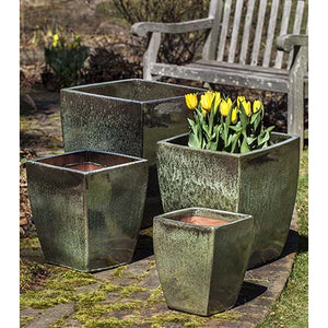 Blake Square Tapered Planter in Metallic Green – Set of 4
