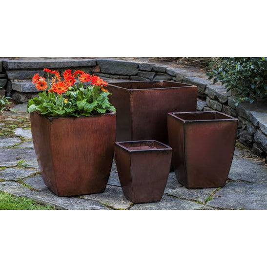 Blake Square Tapered Planter in Maple Red – Set of 4