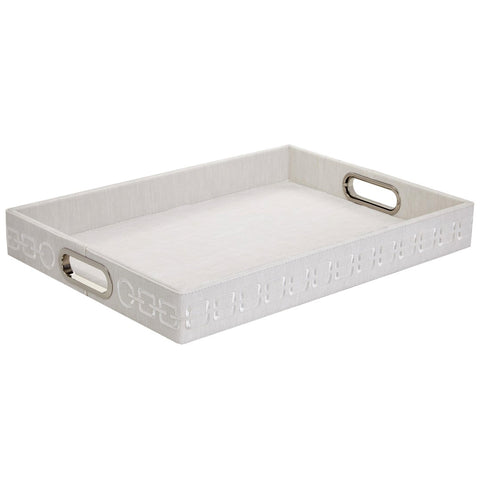 Faux Leather Rectangular Tray with Chain Embroidery — White & White