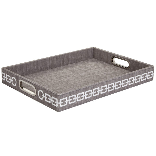 Faux Leather Rectangular Tray with Chain Embroidery — Grey & White
