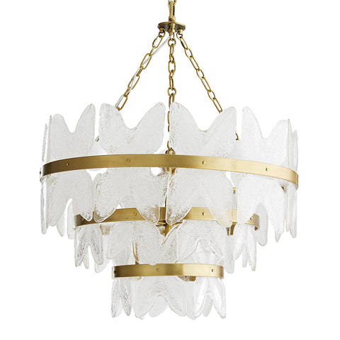 Arteriors Millie 3-Tier Chandelier with Seeded Glass Plates