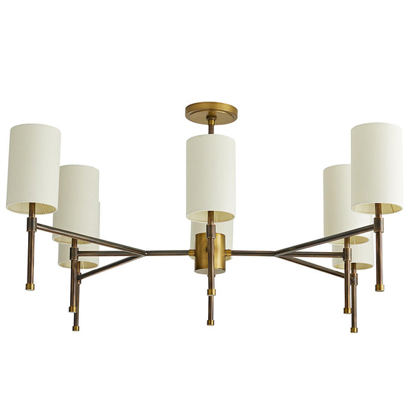 Arteriors Remington 8-Light Brass Chandelier with Linen Drum Shades