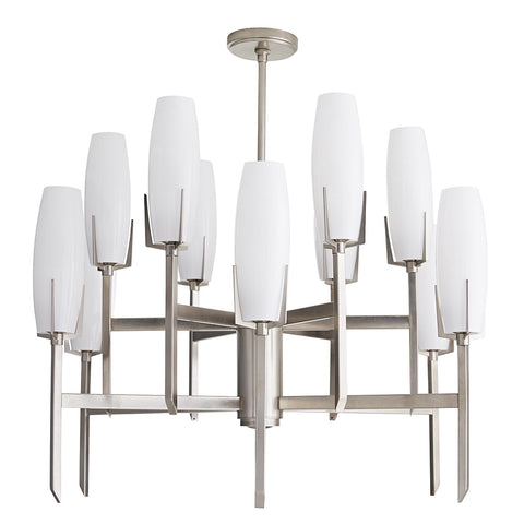 Arteriors Keifer Large 2-Tier Chandelier with Opal Glass Shades – Vintage Silver