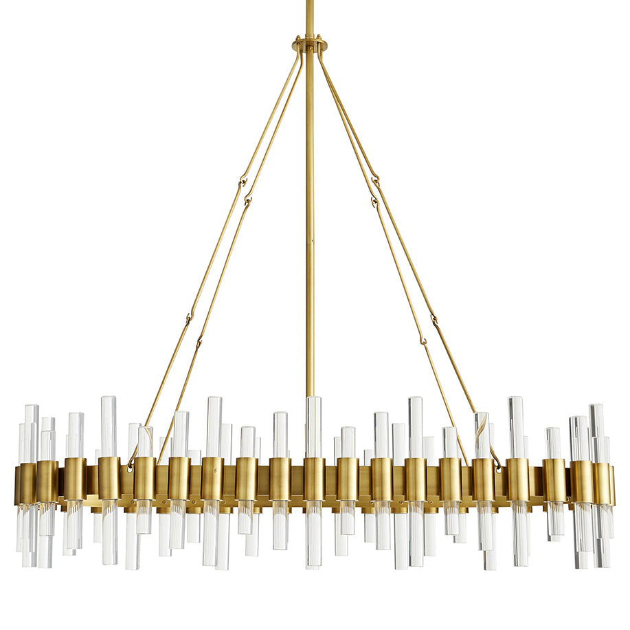 Arteriors Haskell Oval Chandelier with Acrylic Accents – Antique Brass