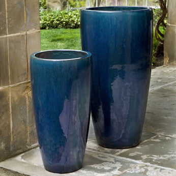 Charmant Tall Indoor/Outdoor Planters   Indigo Blue (Set Of 2)