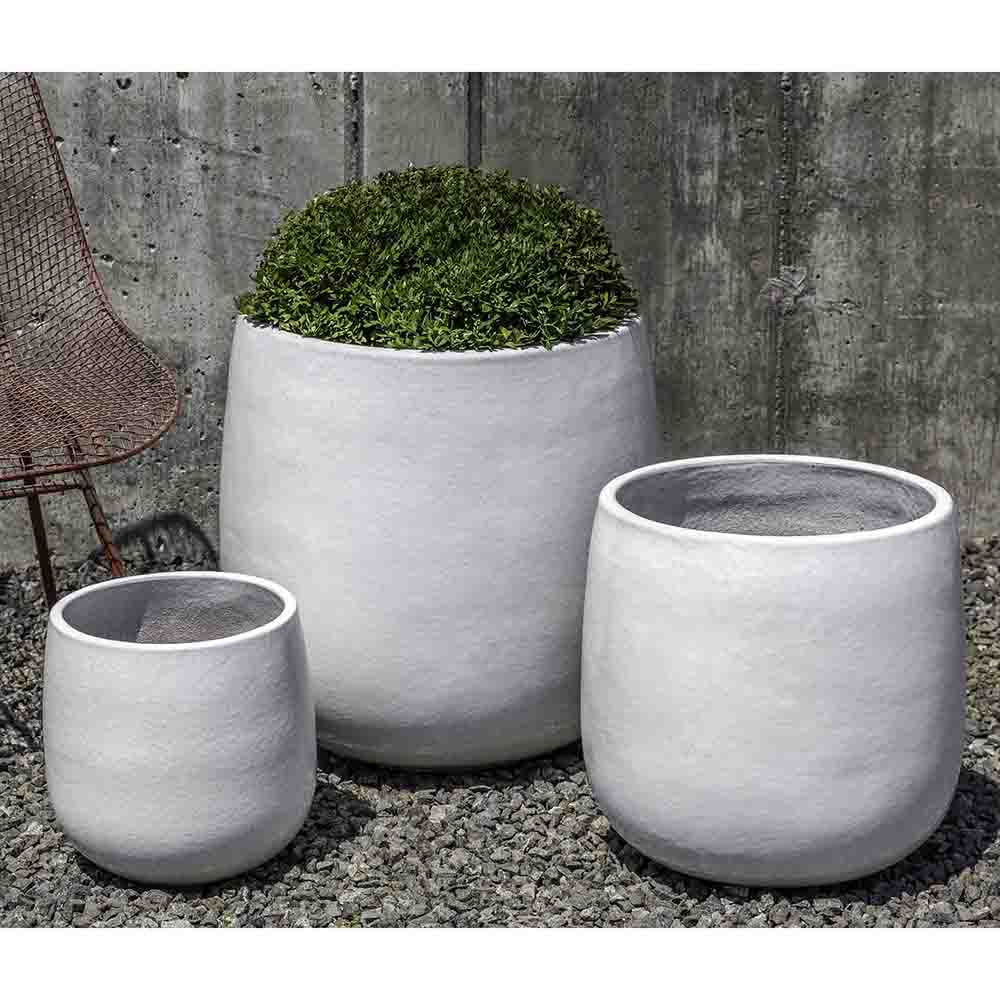 White Glazed Terra Cotta Barrel Planters – Set of 3