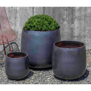 Metal Grey Glazed Terra Cotta Barrel Planters – Set of 3