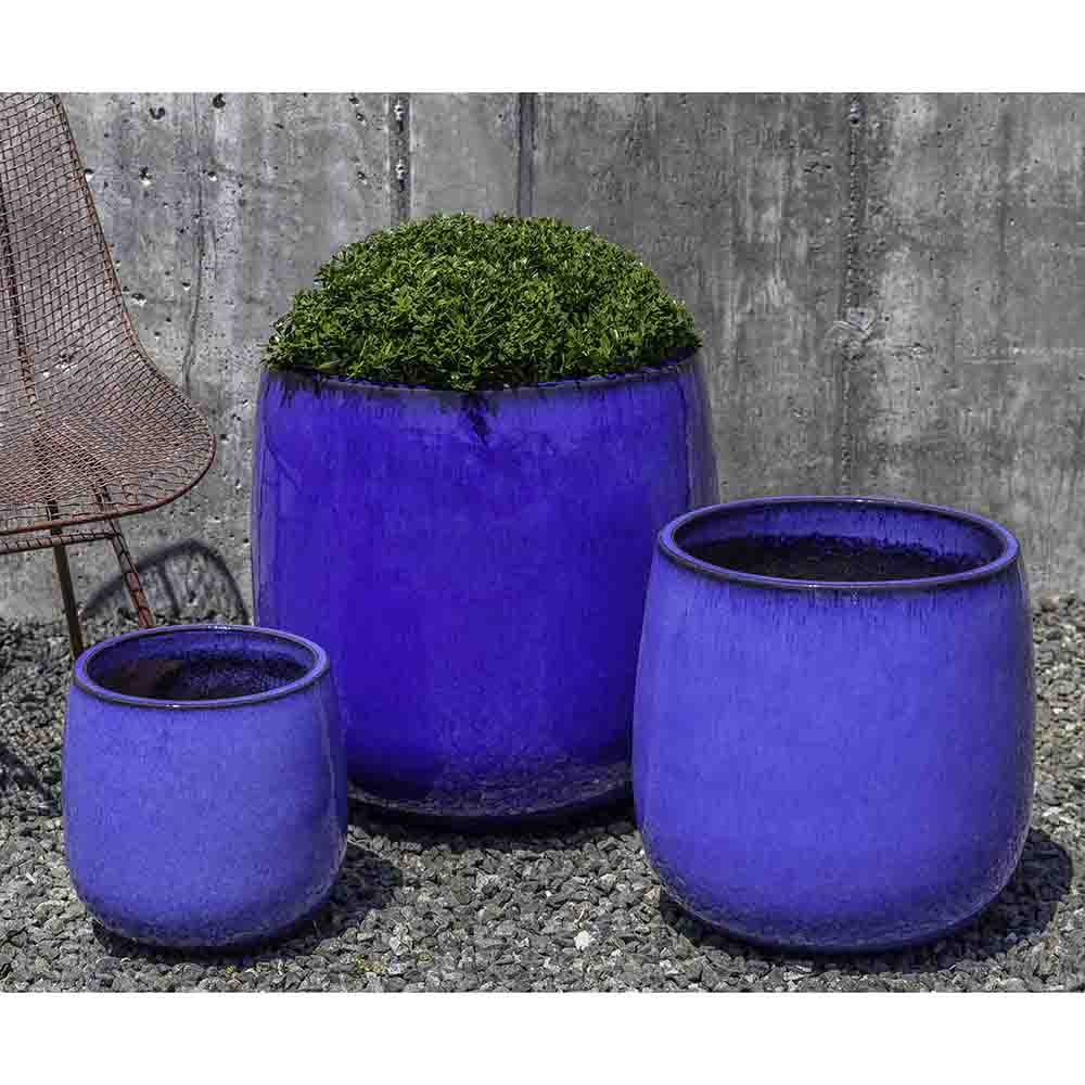 Riviera Blue Glazed Terra Cotta Barrel Planters – Set of 3