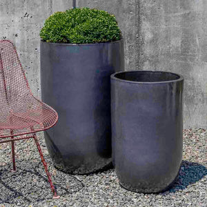 Tall Metal Grey Columnar Planters – Set of 2
