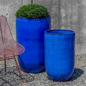 Tall Riviera Blue Columnar Planters – Set of 2