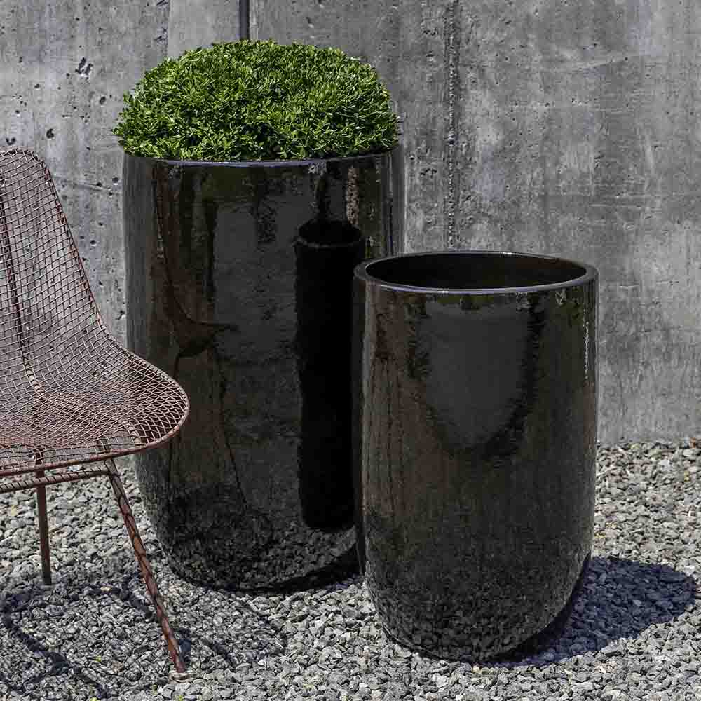 Tall Cola Brown Columnar Planters – Set of 2