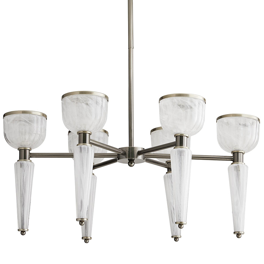 Arteriors Richardson Opal Glass Torches Chandelier – Vintage Silver