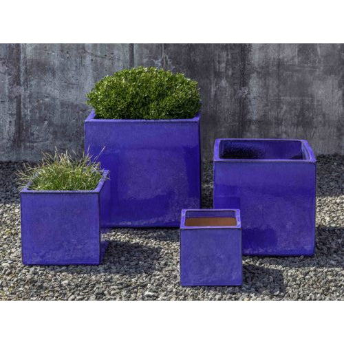 Hancock Cube Planter in Riviera Blue – Set of 4