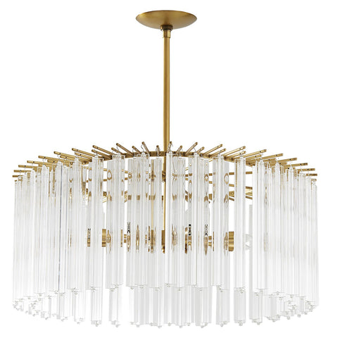 Arteriors Nessa Round Chandelier with Fluted Glass Rods – Antique Brass
