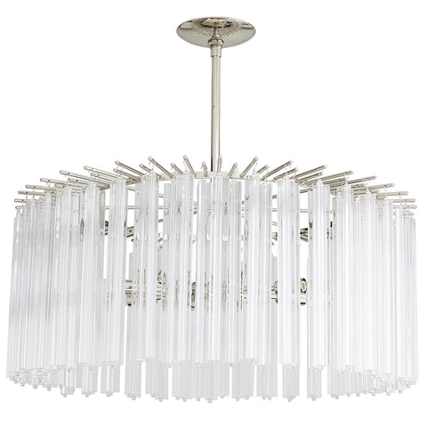 Arteriors Nessa Round Chandelier with Fluted Glass Rods – Nickel