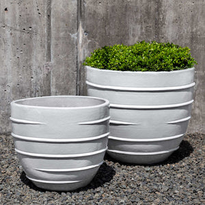 White Short Ridged Terra Cotta Planters – Set of 2