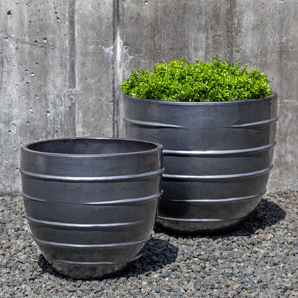 Metal Grey Short Ridged Terra Cotta Planters – Set of 2