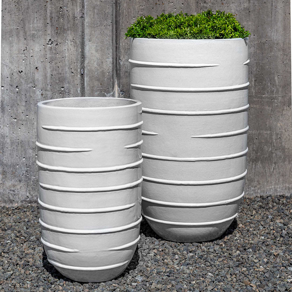 White Tall Ridged Terra Cotta Planters – Set of 2