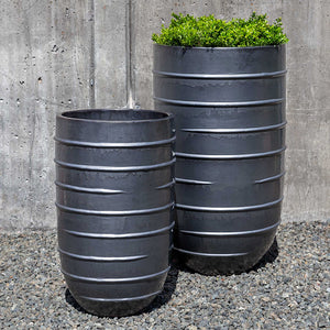Metal Grey Tall Ridged Terra Cotta Planters – Set of 2