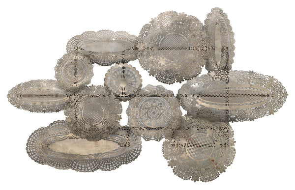 Josephine Lace Wall Art Sculpture in Antique Silver