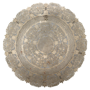 Penelope Lace Wall Art Medallion in Antique Silver