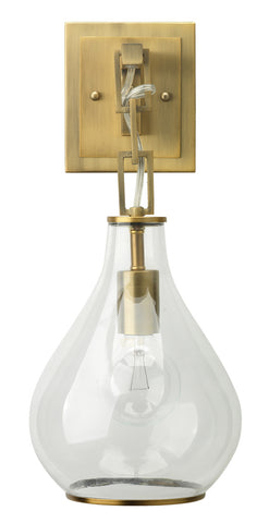 Tear Drop Hanging Wall Sconce in Clear Glass and Antique Brass
