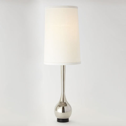 Tall Modern Table Lamp – Polished Nickel