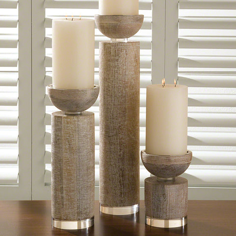 Scratched White Finish Pillar Candle Holder – 3 Sizes