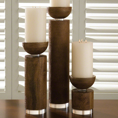 Scratched Brown Finish Pillar Candle Holder – 3 Sizes