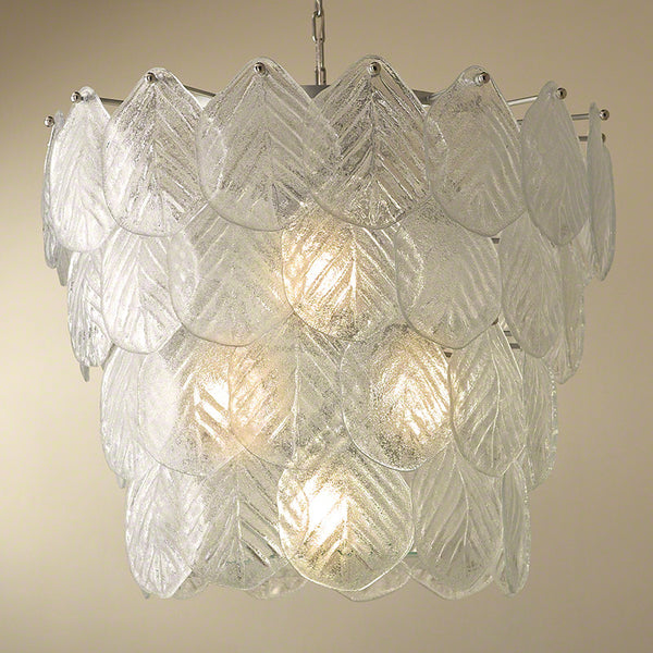 Murano Glass Leaf Chandelier – Nickel