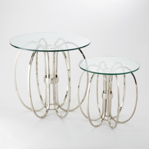 Oval Ring Side Table – Polished Nickel & Glass