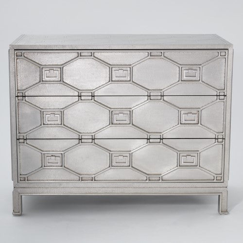 Fretwork 3-Drawer Chest - Sliver