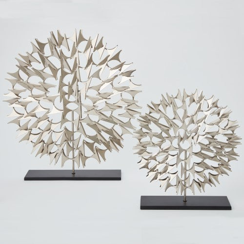 Round Cosmos Sculpture on Stand – Nickel (Available in Two Sizes)