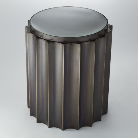 Fluted Column Side Table – Bronze