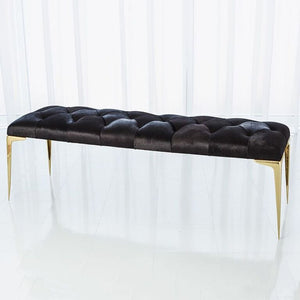 Luxe Black Hide Tufted Bench