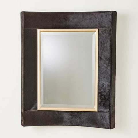 Curved Short Mirror – Black Hair on Hide