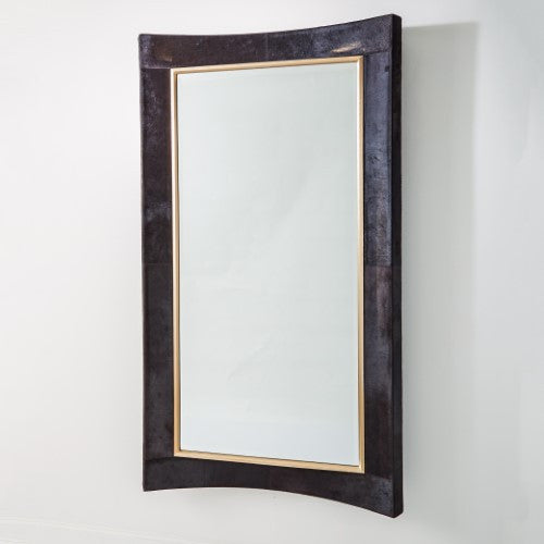 Curved Floor Mirror – Black Hair on Hide