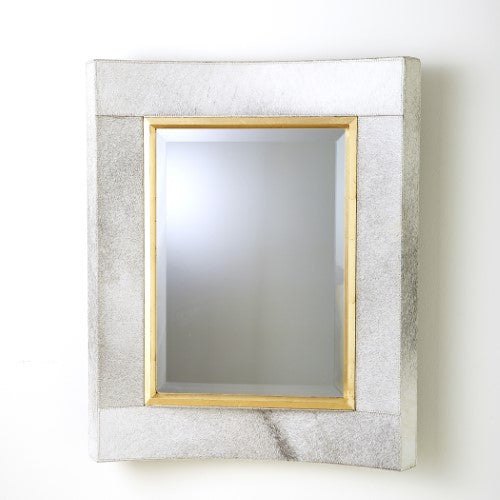 Curved Short Mirror – White Hair on Hide