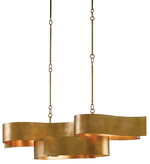 Currey and Company Grand Lotus Gold Oval Chandelier