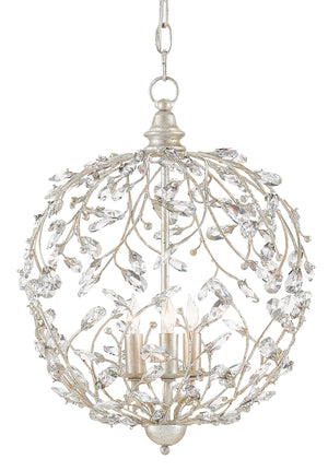 Currey and Company Crystal Bud Silver Orb Chandelier