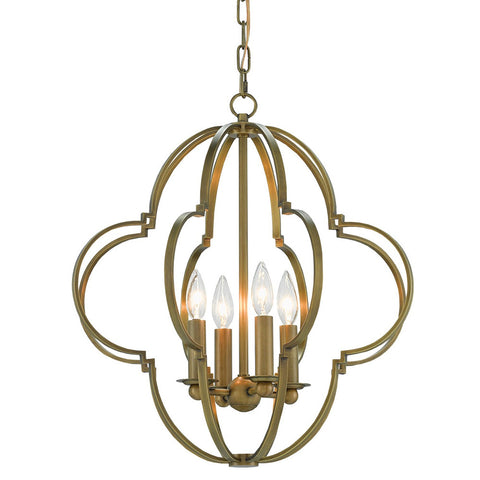 Currey and Company Quatrefoil 4-Light Chandelier – Antique Brass