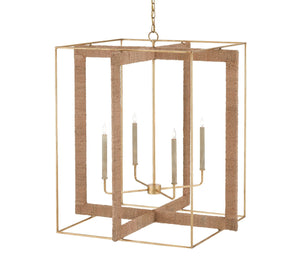 Currey and Company Wrought Iron & Rope Box Chandelier