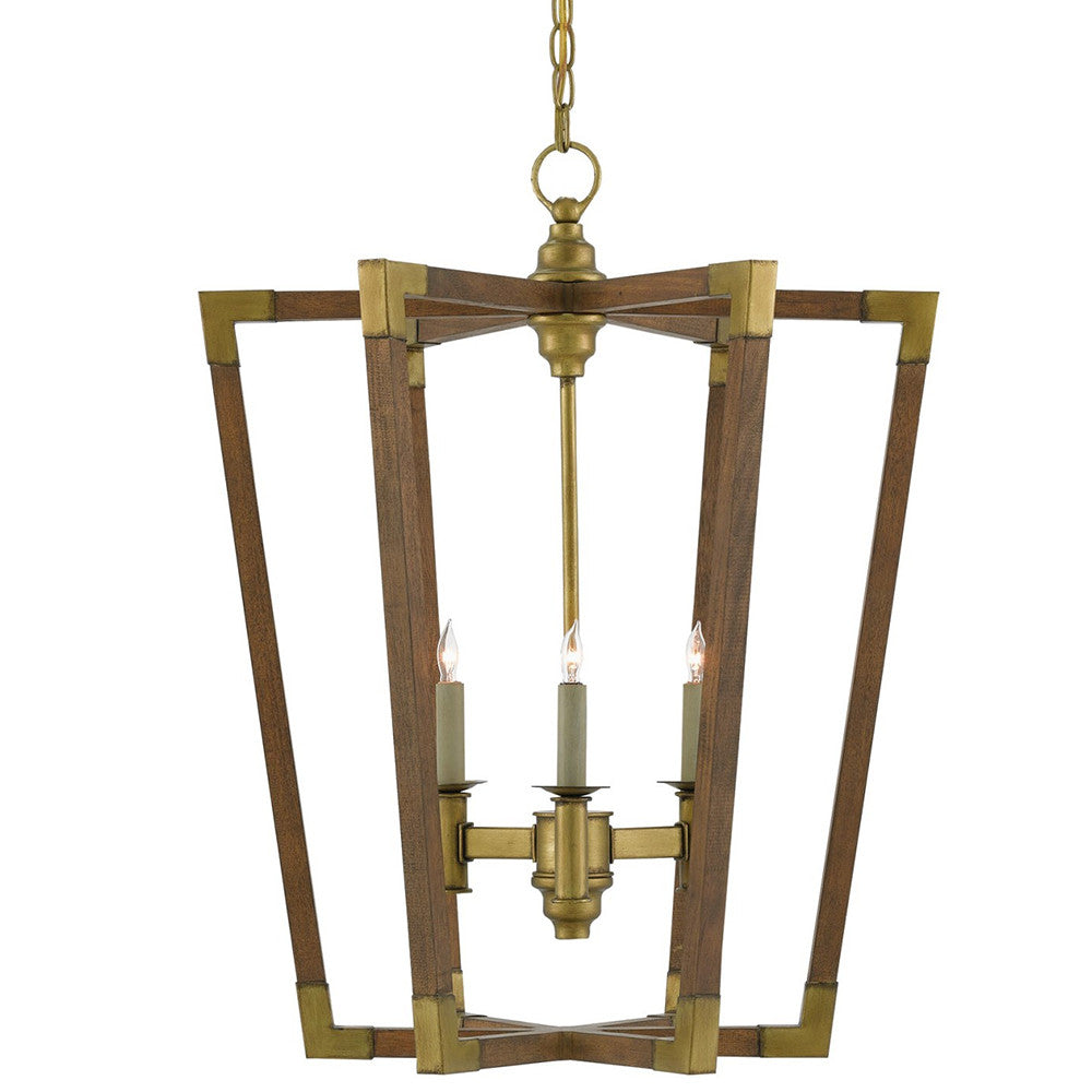 Currey and Company Small Mid Century Chandelier – Wood & Brass