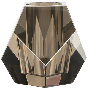 Arteriors Gemma Faceted Crystal Short Vase – Smoke