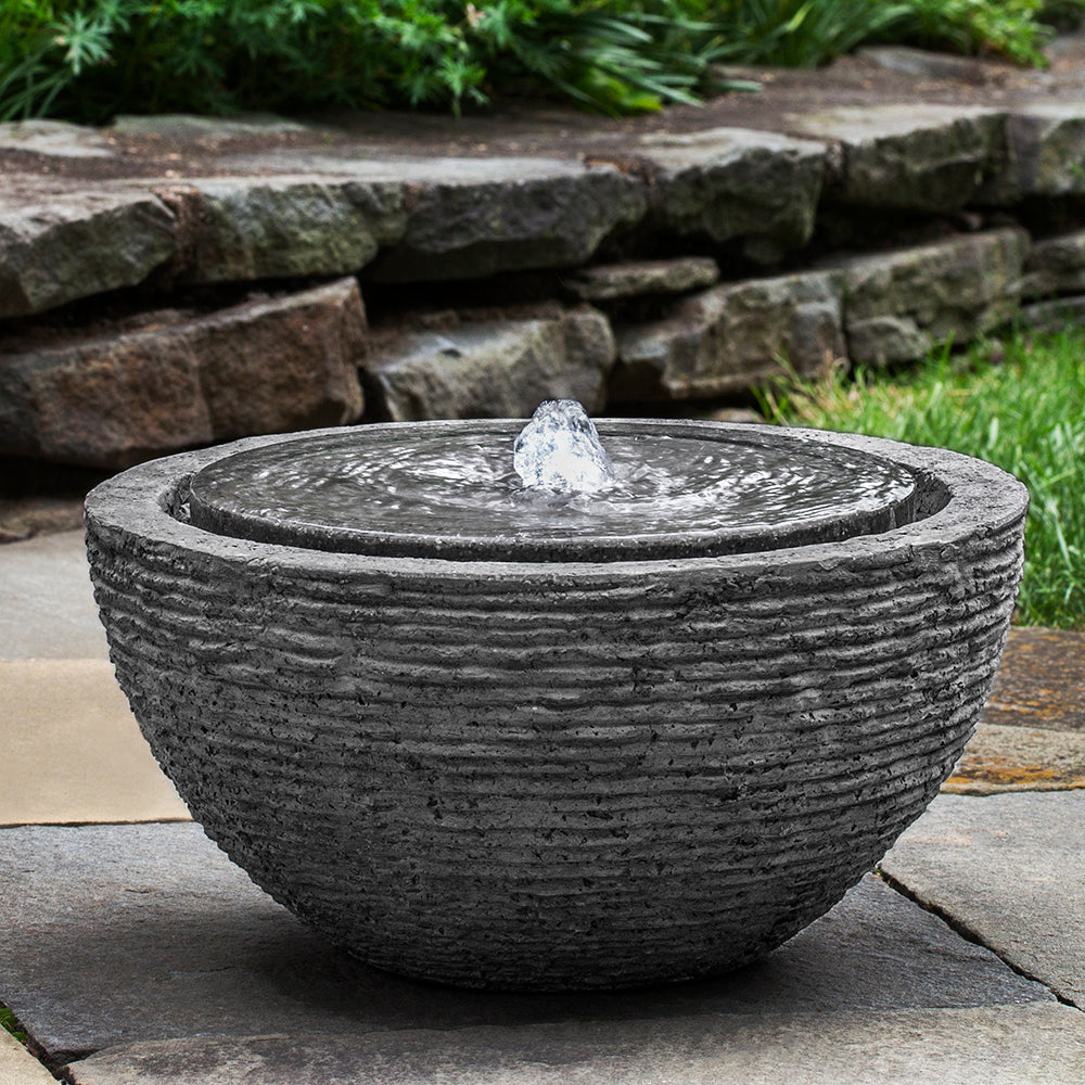 Round Textured Fountain - Stone Grey