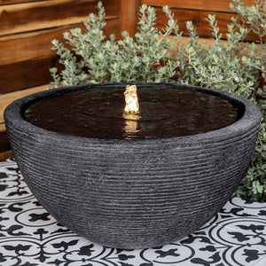 Large Faux Stone Fountain with Black Stone Finish