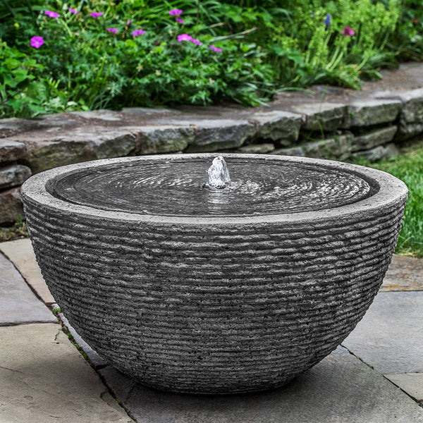Large Round Textured Fountain - Stone Grey