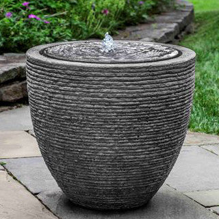 Tall Round Textured Fountain - Stone Grey