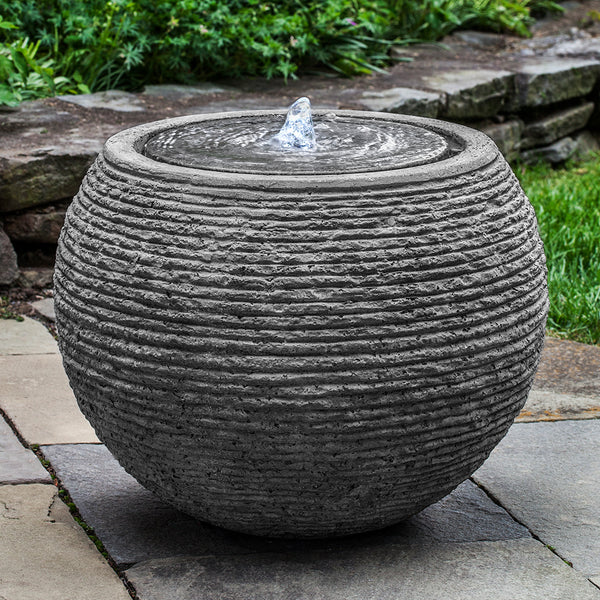 Large Sphere Textured Fountain - Stone Grey